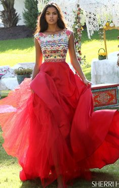 Boat Neckline Beaded Sherri Hill 50335 Floral Printed Cap Sleeves Red/Multi 2016 Long Chiffon Evening Gown