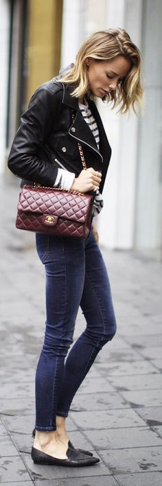 Burgundy Chanel Bag Outfit Idea