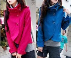 Moda collare lana cappotto lana giacca donna corta cappotto