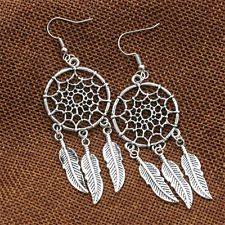 Women New Fashion Jewelry Vintage Silver Plated Dream Catcher Drop Earring UKSK