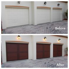 www.coneygaragedoor.com  This garage door makeover not only adds warmth and character to the house, it attracts attention to other architectural details like the decorative light fixtures and paver driveway. Clopay Canyon Ridge Collection Ultra-Grain