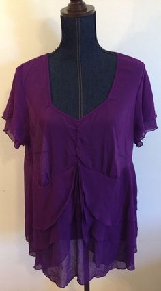 Lane Bryant Women's Plus Size 18/20 Sheer Purple Tiered Ruffle Shirt Blouse #LaneBryant #Blouse #casual