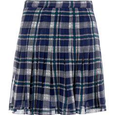 Joie Deron Checked Silk Chiffon Mini Skirt (875 HKD) ❤ liked on Polyvore featuring skirts, mini skirts, navy, navy pleated skirt, blue pleated skirt, checkered skirt, mini skirt and short blue skirt