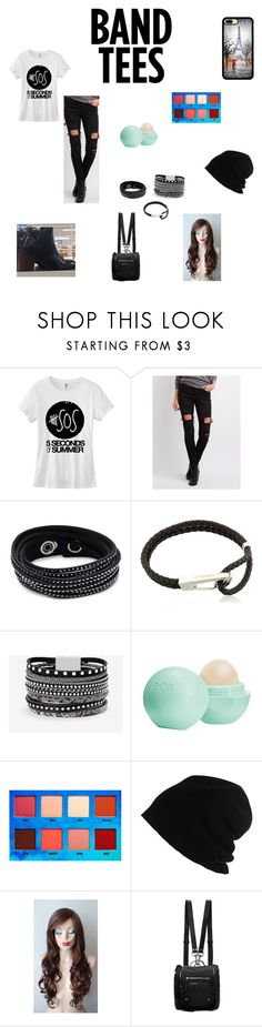 """""""Band tee"""" by moodydee ❤ liked on Polyvore featuring Charlotte Russe, Swarovski, Montblanc, White House Black Market, Eos, Lime Crime, SCHA and McQ by Alexander McQueen"""