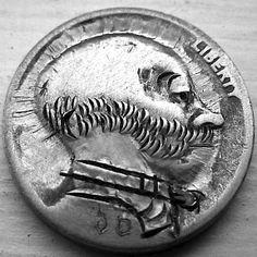 JOHN DORUSA HOBO NICKEL - ANDY GUMP - NO DATE BUFFALO PROFILE Hobo Nickel, Buffalo, Coins, Carving, Profile, Art, User Profile, Art Background, Rooms