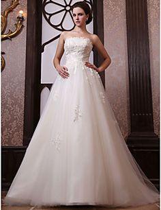 A-line Strapless Chapel Train Tulle Satin Wedding Dress