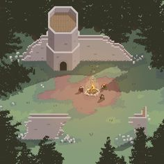 Added more defensive abilities today. Also, here's a WIP piece of a bigger forest map- #pixelart #gamedev pic.twitter.com/cncxbxhFRg