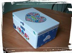 Krabica spomienok-ľudový motív modrá