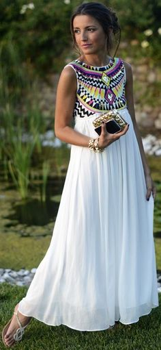 Maxi dress, embroidery
