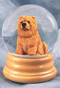 Chow Wood Carved Dog Figure Water Globe. Home Decor Dog Products & Dog Gifts.