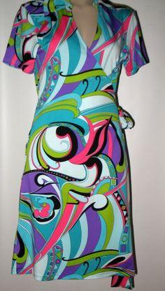 TRACY NEGOSHIAN Mod Print Jersey Wrap Dress - Pink, Black, Aqua M (8/10) #TracyNegoshian #Wrap #Versatile