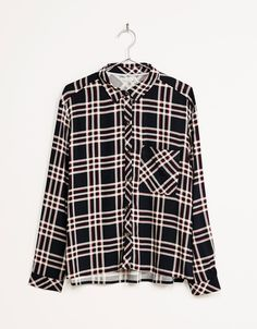 BSK side button checked shirt. Discover this and many more items in Bershka with…