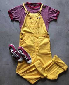 """70s Vibrant Yellow Lee overalls, size S/M 32"""" waist & 32"""" inseam, $85+$16 domestic shipping. Thrashed Manchester Co. ringer, size S 20"""" by 25"""", $24+$8 shipping. USA made Converse, women's size 7.5, $52+$16 shipping. Call 415-796-2398 to purchase or PayPal afterlifeboutique@gmail and reference item in post."""