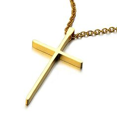 Small Unisex Gold Cross Pendant Necklace for Men and Women Stainless Steel High Polished - http://www.spiritualgemstonejewelry.com/small-unisex-gold-cross-pendant-necklace-for-men-and-women-stainless-steel-high-polished/