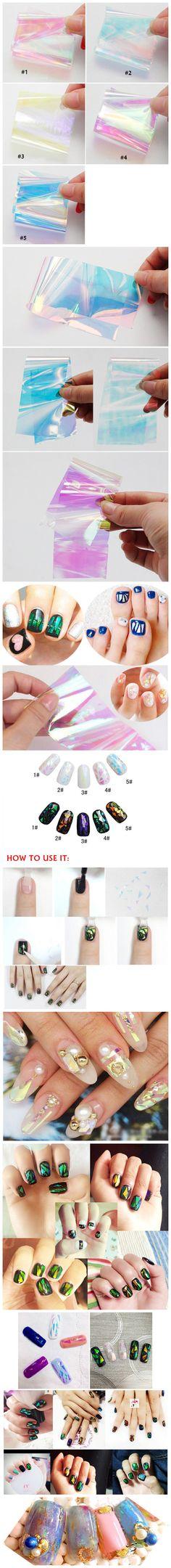 Shining Brilliantly Coloured Nail Art Irregular Glass Foil Mirror Slice Platinum Paper Nail Art Sticker