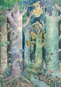 Original Art Watercolor Fantasy Dreaming Trees Celestial Forest Moon Mushrooms Night Stream by cgbartwork on Etsy Fantasy Trees, Fantasy Art, Enchanted Wood, Old Trees, Dream Art, Fairy Art, Faeries, Plexus Products, Wonderful Images