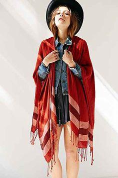 Border Stripe Blanket  Open Poncho