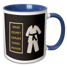 c96d22104 3dRose Karate Karategi Uniform Black Belt Honor Respect Courage Train  Discipline - Two Tone Blue Mug, 11-ounce