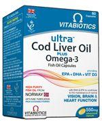 Vitabiotics Ultra Cod Liver Oil Plus Omega 3 Συνδυασμός Ωμέγα-3 Ιχθυελαίων Και Μουρουνέλαιου 60caps. Μάθετε περισσότερα ΕΔΩ: https://www.pharm24.gr/index.php?main_page=product_info&products_id=4172