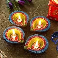 Diwali Diyas: Buy Diwali Diyas Online at Best Prices. IGP Offers you Wide Range of Beautiful Diyas, Decorative Diyas and Clay Diya for Your Loved Ones. Free Shipping Today! Diwali Decoration Items, Thali Decoration Ideas, Diwali Decorations At Home, Festival Decorations, Diwali For Kids, Diwali Craft, Diwali Gifts, Diwali Wishes, Diya Designs