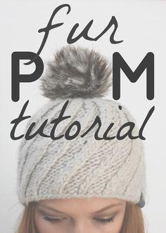 Fur Pom Pom Tutorial - Alida Makes Crochet Beanie, Knitted Hats, Knit Crochet, Crochet Hats, Crochet Stitches, Crochet Hat Tutorial, Pom Pom Tutorial, Faux Fur Pom Pom, Pom Pom Hat