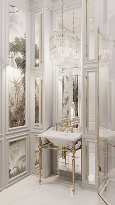 Luxurious elegant and beautiful all white bathroom with gold details designed by Desart Decor with . Bathroom Lighting Design, Modern Bathroom Decor, Bathroom Interior Design, Bathroom Ideas, All White Bathroom, White Bathroom Cabinets, Bathroom Mirrors, Bathroom Faucets, Luxury Decor