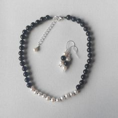 handknotted pearl necklace and earring jewellery set by terramor