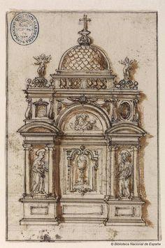 [Proyecto de tabernáculo]. Anónimo español s. XVI — Dibujo — 1575-1600