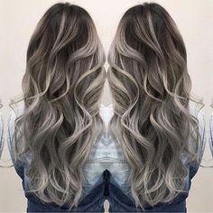Smoky hair color and beautiful long wavy hair by Janai Hartt hotonbeauty.com #hairpainting #balayage