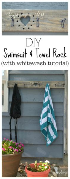 A swimsuit and towel rack made from reclaimed wood and hat hooks.  Plus, a tutorial on how to whitewash wood.
