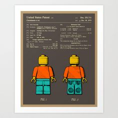 Lego Man Patent Art Print by Jazzberry Blue -