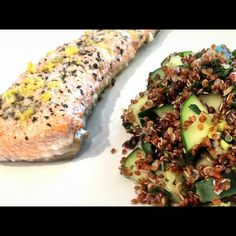 Lemon Crusted Salmon with Basil Cucumber Quinoa Salad: used wild sockeye salmon drizzled with a little coconut oil, fresh squeezed lemon, cracked sea salt, cracked pepper, basil, topped with Panko bread crumbs & lemon zest. Baked at 400 for 10 min. Used this recipe for Quinoa salad, also added fresh chopped spinach and green onions: http://cleananddelicious.com/2008/02/28/salmon_basil_quinoa_salad/