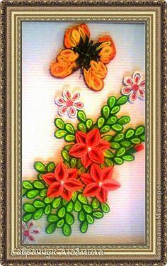 Поделка изделие День рождения Квиллинг Оригами панно Букет цветов Бумажные полосы фото 1