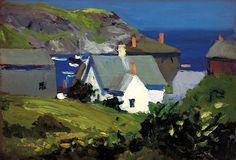 Edward Hopper, Monhegan Houses, Maine, 1916 (Portland Museum of Art) Edward Hopper Paintings, Monhegan Island, American Realism, Impressionism Art, Impressionist Artists, Anime Comics, Oeuvre D'art, Nature, Landscape Paintings