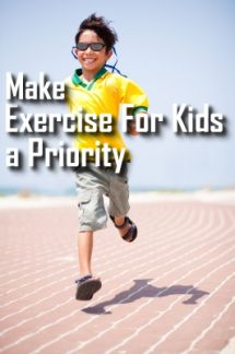 Make exercise for kids a priority.  This boy is having fun running on a track!