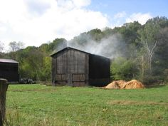 Clarksville, Tennessee. Driving to Mom and Dads in the fall and smellin tobacco smokin in the barn.