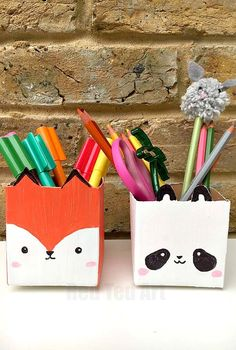 Milk Carton Pen Pots - a cute and simple DIY for Back to School. We love this upcycled DIY as it is thrifty and easy, but still oh so cute. Perfect Desk Tidies for kids