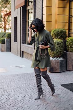 67d2425cdcb How To Style Over The Knee Boots with a Dress · Winter ChicAutumn Winter  FashionWinter ...