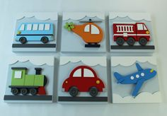 Set of 3 Transportation Wood Kids Wall Decor 3D by EleosStudio