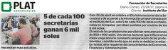 Instituto del Sur: Formación de Secretarias en el diario Correo de Perú (25/04/17)