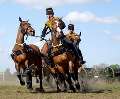 Kings Troop, RHA, Charlton, Apr 2015 - The King's Troop, Royal Horse Artillery (RHA), going through manoeuvres at their final inspection at Charlton Park, SE London, Tuesday, 28 April 2015