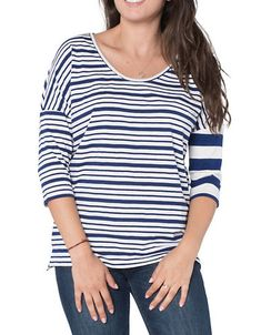 ESPRIT Three-Quarter Sleeve Striped Tee