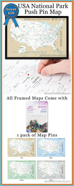 US National Park System Push Pin Map. Great gift for the world traveler or house warming gift. World Map Travel, Rv Travel, World Traveler, Places To Travel, Travel Destinations, Travel Packing, Push Pin World Map, On The Road Again, National Parks Usa