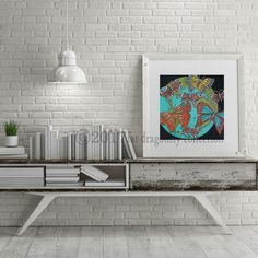 Artist Shanni Welsh's Butterfly and Earth art print. Butterfly poster.