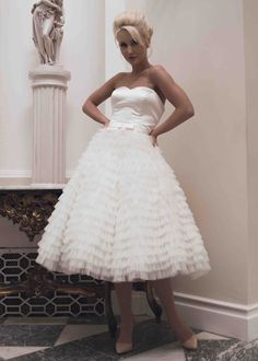 House of Mooshki bridal autumn 2014 - Short tea length wedding dress  #Wedding