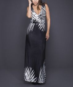 Look what I found on #zulily! Black & White Leaf Sleeveless Maxi Dress by Adore #zulilyfinds