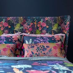 The Peggy sherbet cushion is a contemporary new floral on sumptuous velvet fabric. Jewel teal delphiniums, navy foliage, pops of pink carnations, chalky coral botanicals and fresh chartreuse ferns create an uplifting design and the cerise pink tassel on e Bluebellgray, How To Make Clothes, Making Clothes, Pink Carnations, Stay In Bed, Color Studies, Velvet Cushions, Watercolor Design, Pink Velvet