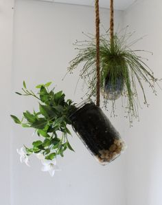 Set of 2 Hanging Mason Jar Planters with drainage - Upcycled home & garden decor - Quart and Pint Ball Jars BootsNGus design. $30.00, via Etsy.
