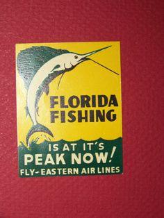 astern Airlines Vintage 1940's Baggage Label - Florida Fishing