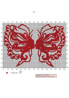 femme - woman - broderie - embroidery - papillon - broderie - embroidery - Papillons Duo - Point de croix - Blog : http://broderiemimie44.canalblog.com/